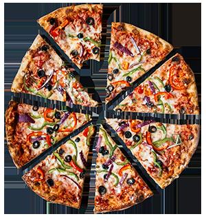 Valmiiksi leikattu paprika-oliivi pizza.